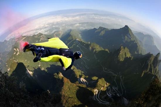 Wingsuits Flying over Zhangjiajie Tianmen Mountain