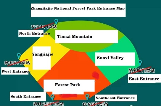 Entrance Map of Zhangjiajie National Forest Park